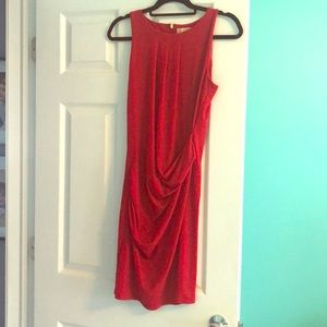 Michael Kors red ruched front dress small